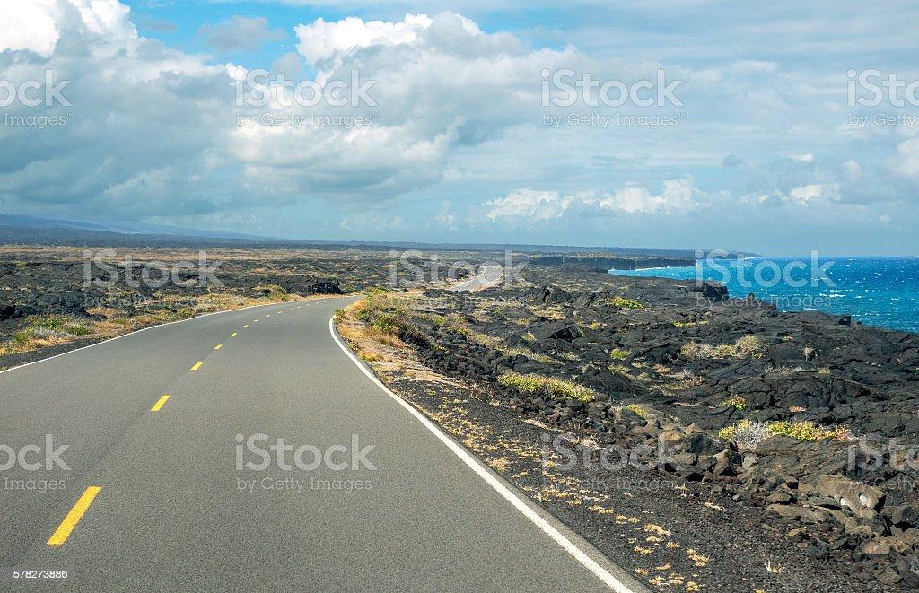 Lava rock road stock photo