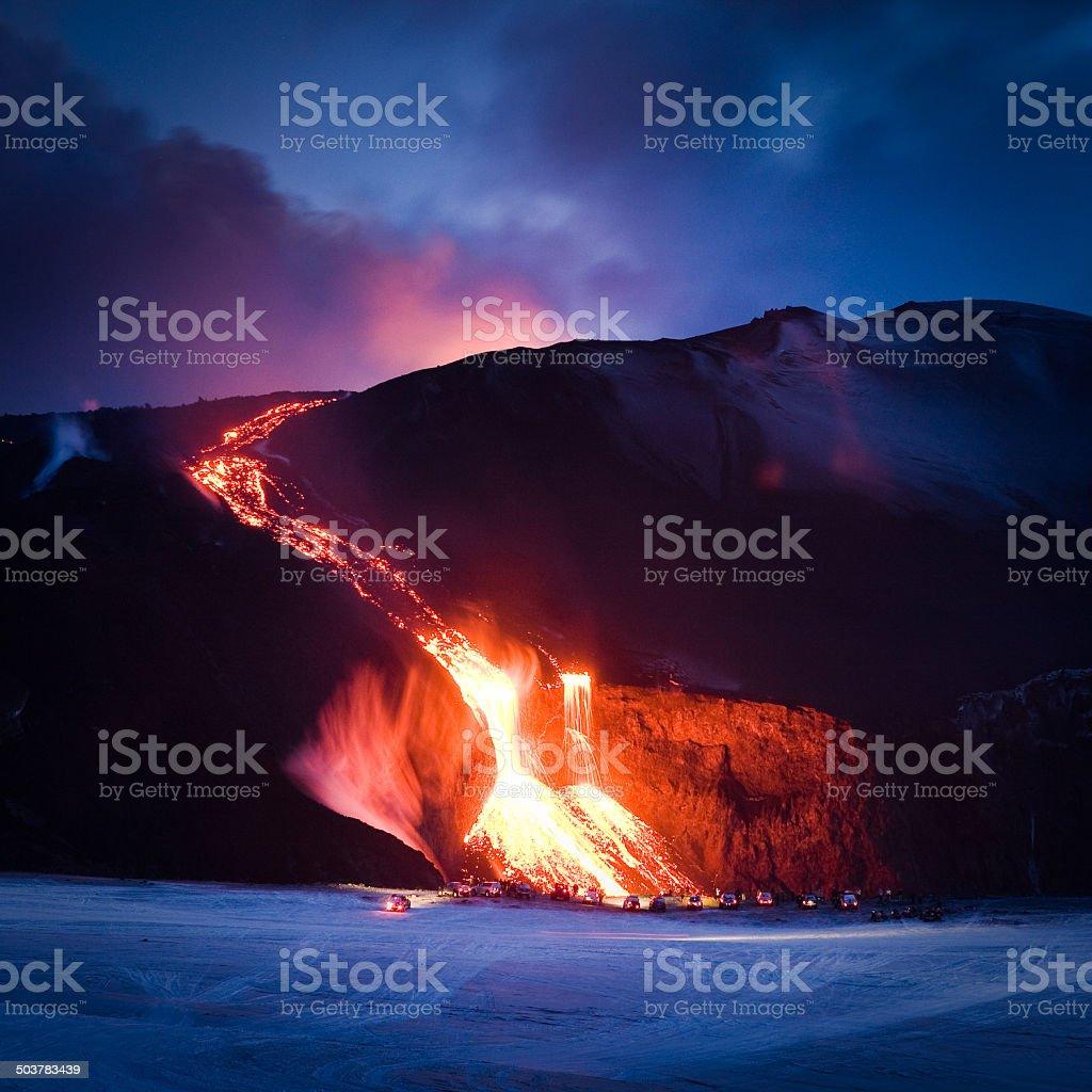 Lava Sliding Down a Mountain Side stock photo