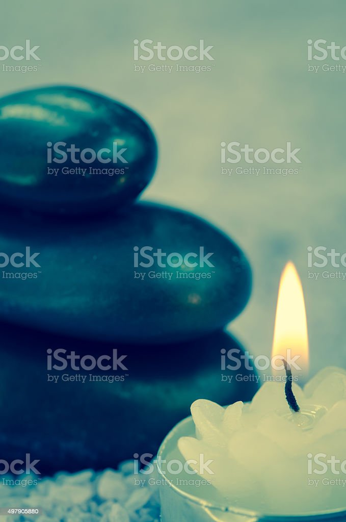 lava stones and candle stock photo