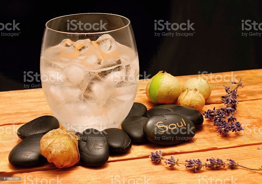 Lava stones and ice drink stock photo