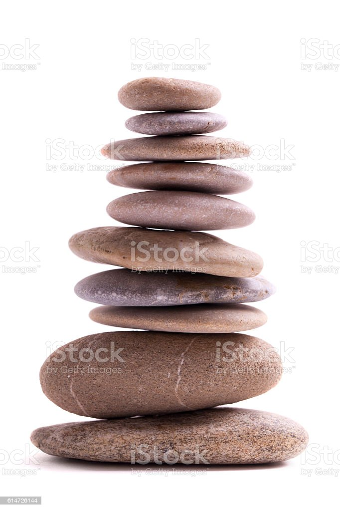 Lava Stones with Bamboo (clipping path) stock photo