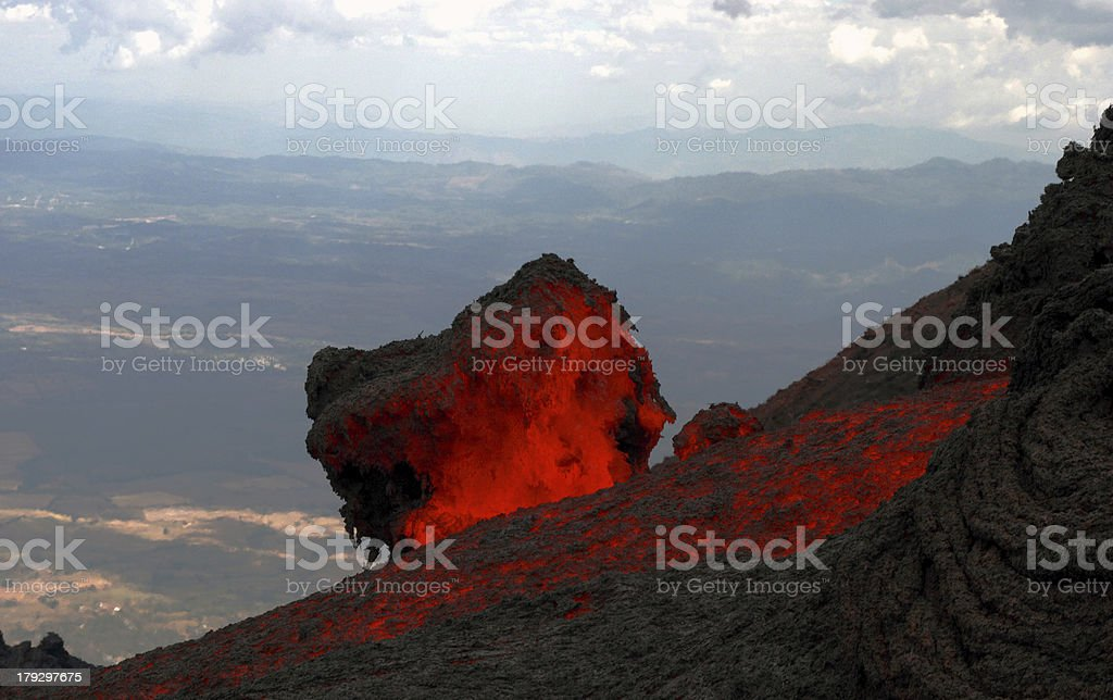 Lavaflow at volcano Pacaya in Guatemala stock photo