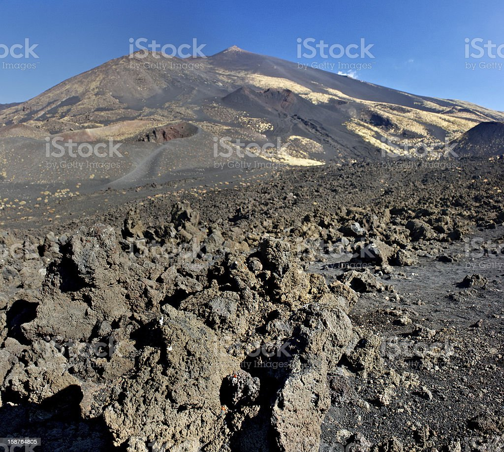 Lavaflow close-up on the Mt. Etna royalty-free stock photo