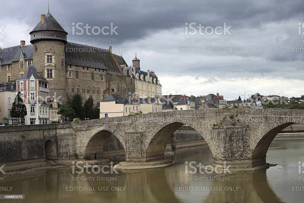 Laval castle and Old bridge stock photo