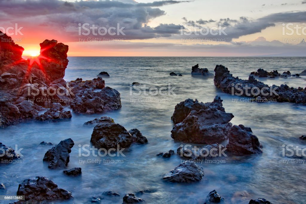 Laval rock sunset stock photo