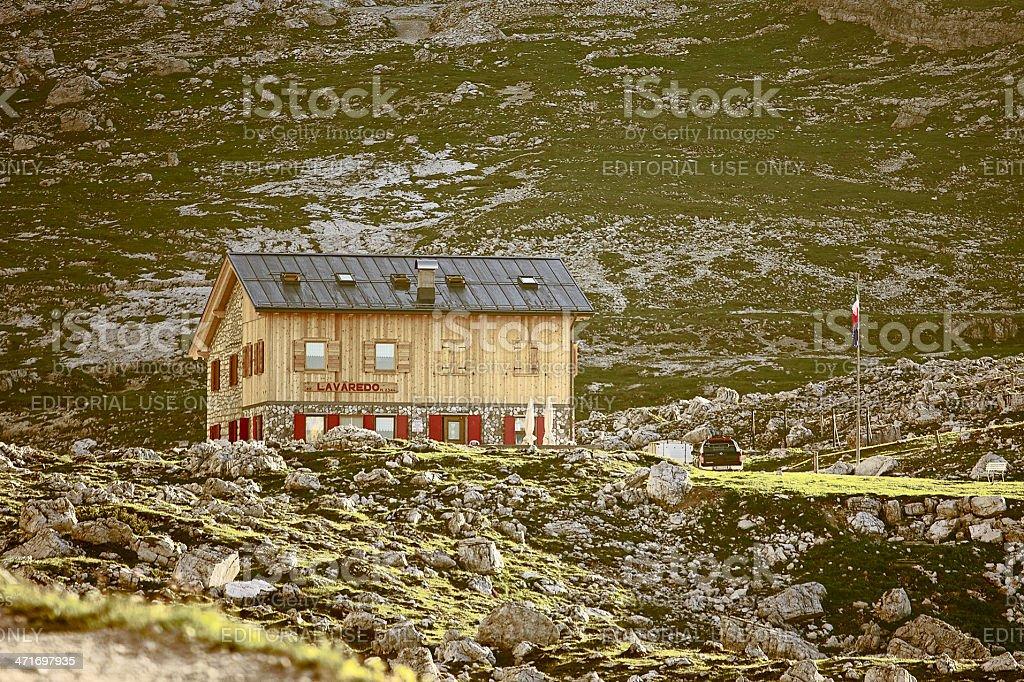 """Lavaredo shelter at the foot of """"Tre Cime di Lavaredo"""" royalty-free stock photo"""
