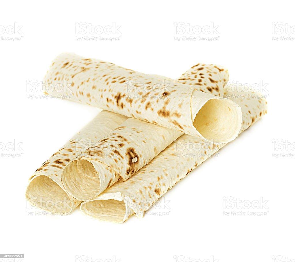 Lavash, Tortilla Wrap Bread. Isolated stock photo