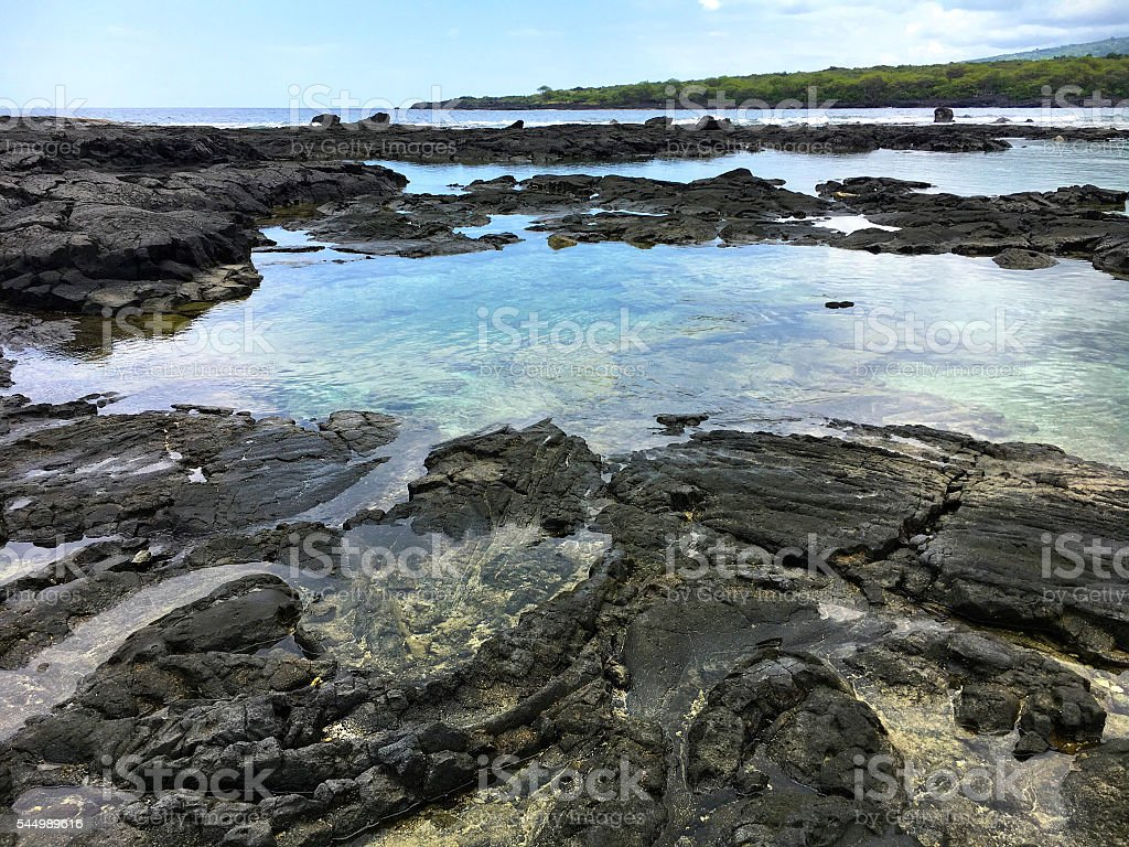 Lave rock tide pools stock photo