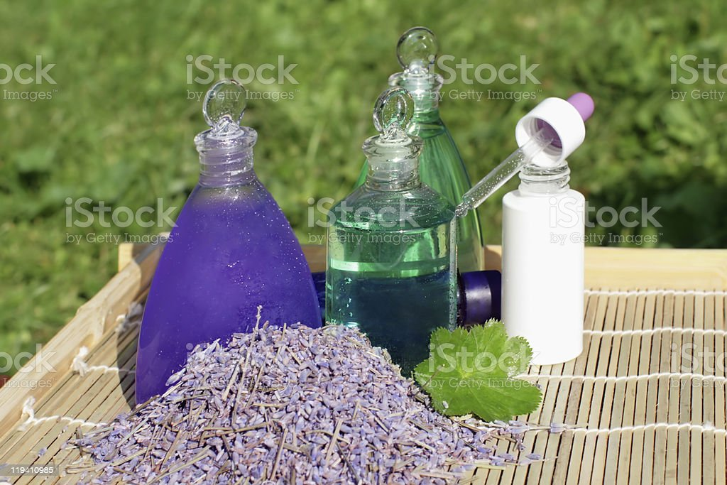 Lavender and aloe vera in cosmetic royalty-free stock photo
