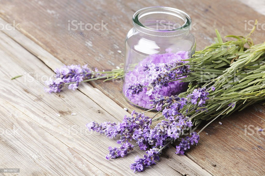 Lavender and bath salt royalty-free stock photo