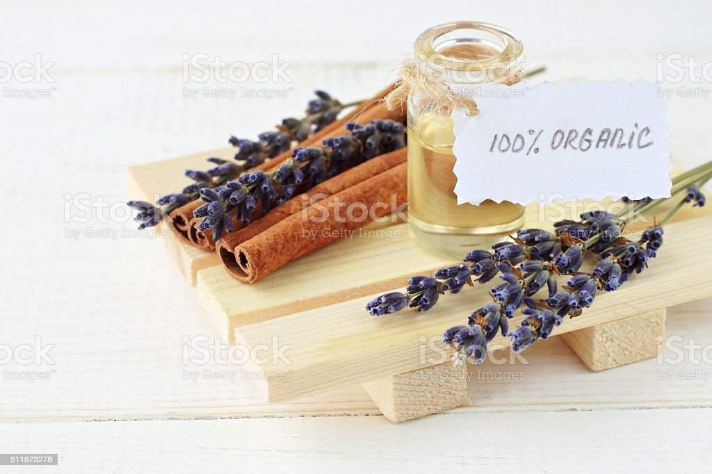 Lavender and cinnamon oil stock photo