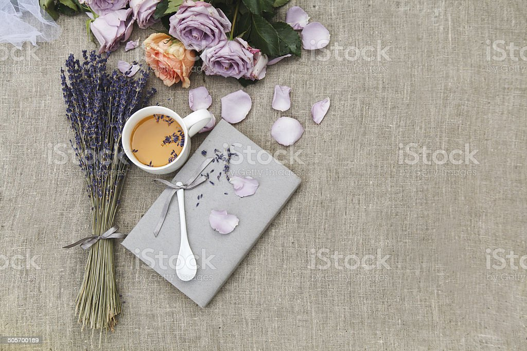 Lavender and cup of tea stock photo