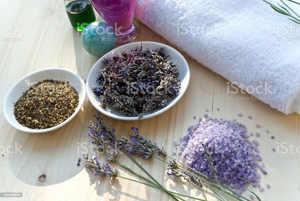 lavender and herbs in the nature royalty-free stock photo