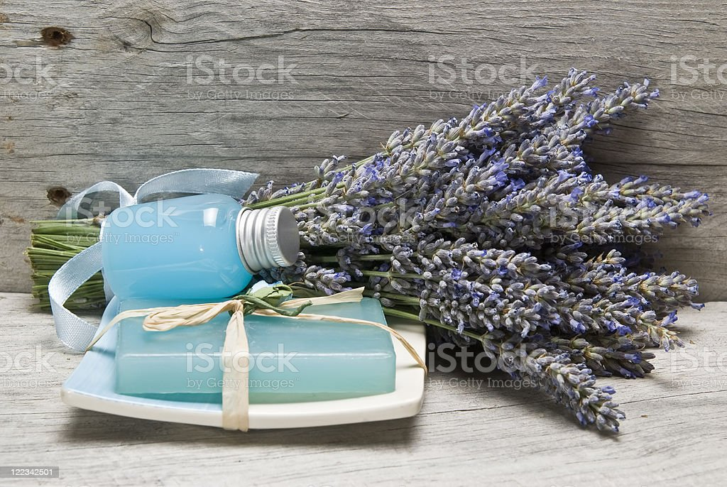 Lavender, and hygiene items. stock photo