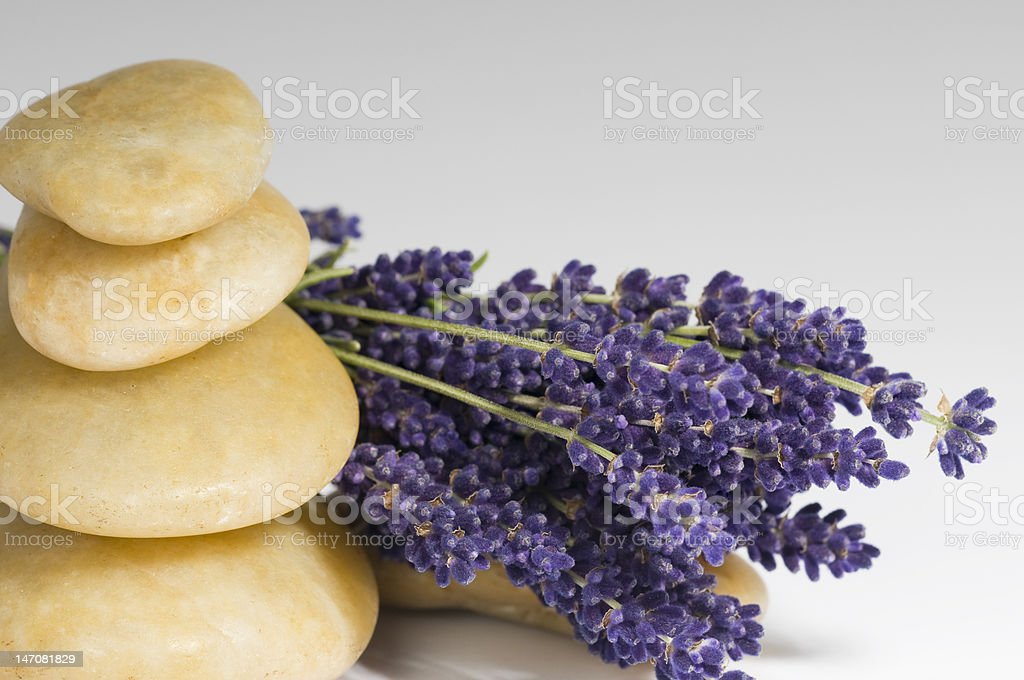 Lavender and stones royalty-free stock photo