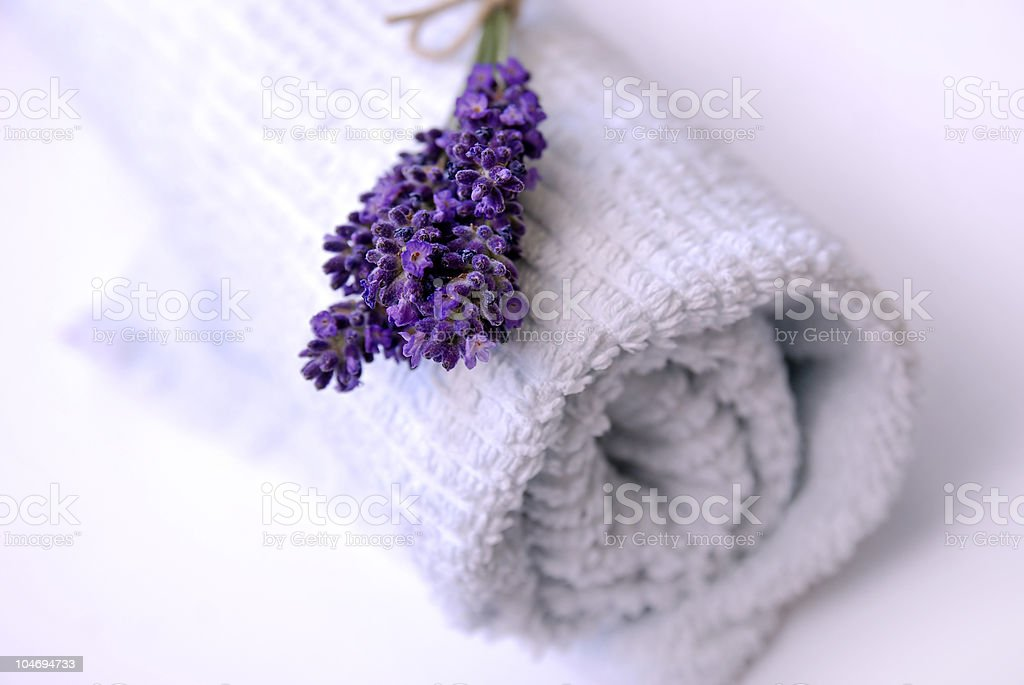 Lavender and towel royalty-free stock photo