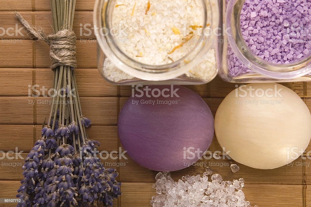 lavender bath items. aromatherapy royalty-free stock photo