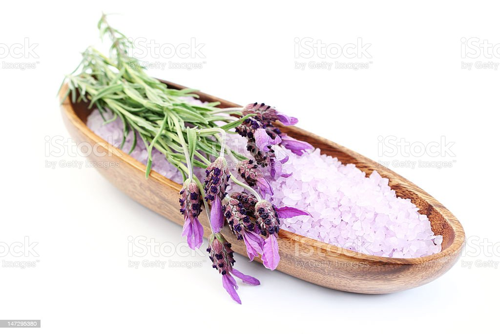 lavender bath salt on white royalty-free stock photo