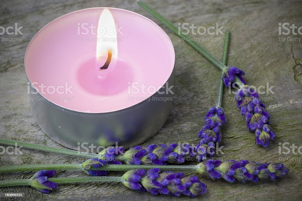 Lavender Candle stock photo