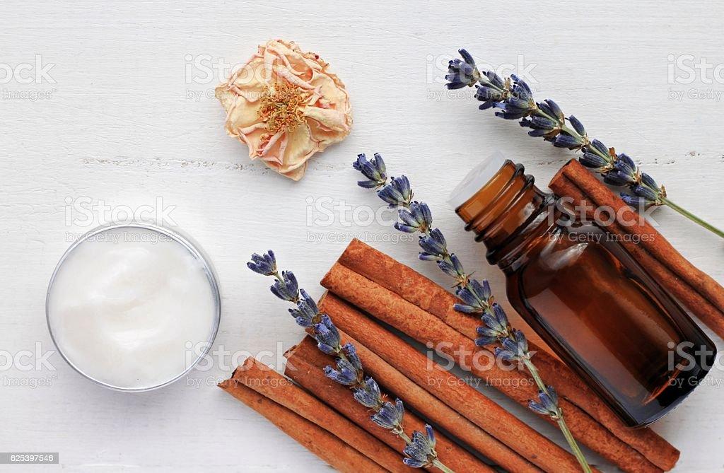 Lavender cinnamon aromatherapy. stock photo