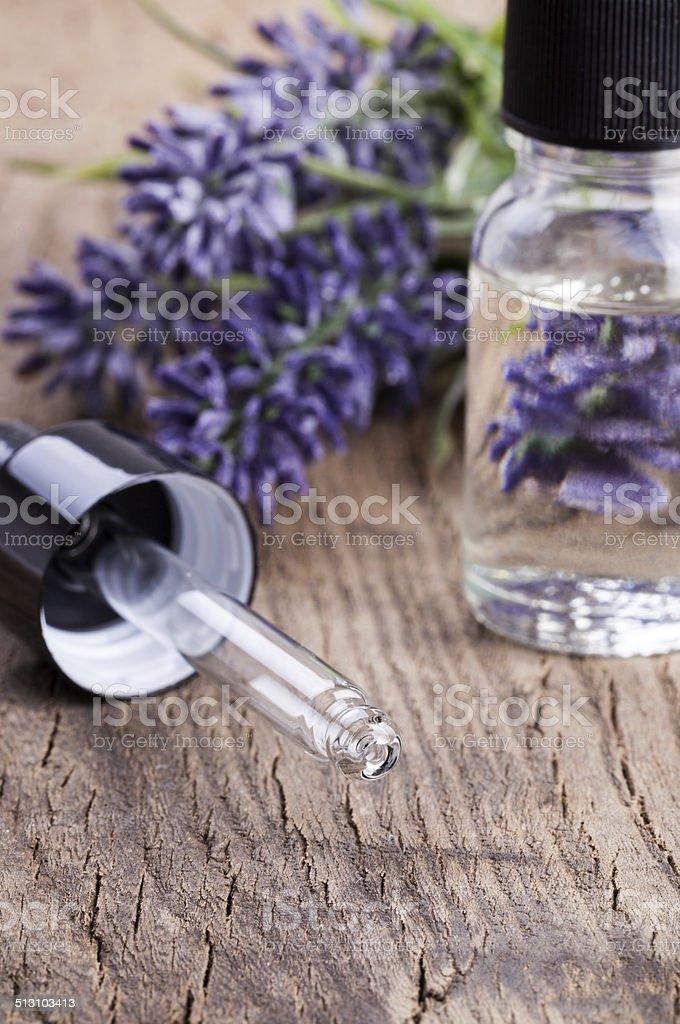 Lavender essential oil stock photo