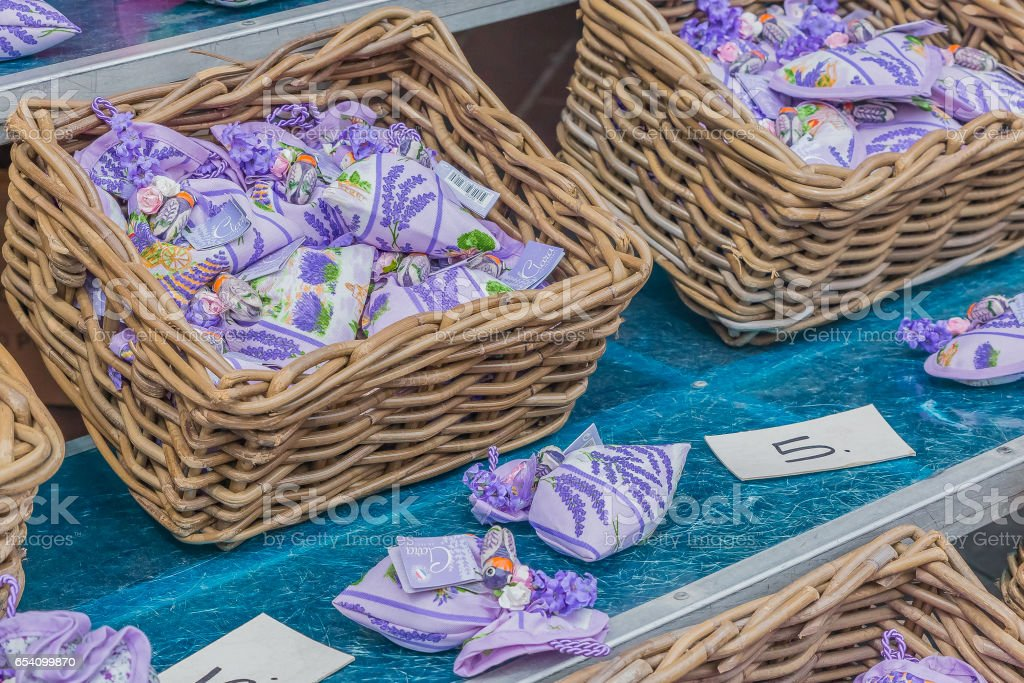 Lavender filled sachets at a French market stock photo