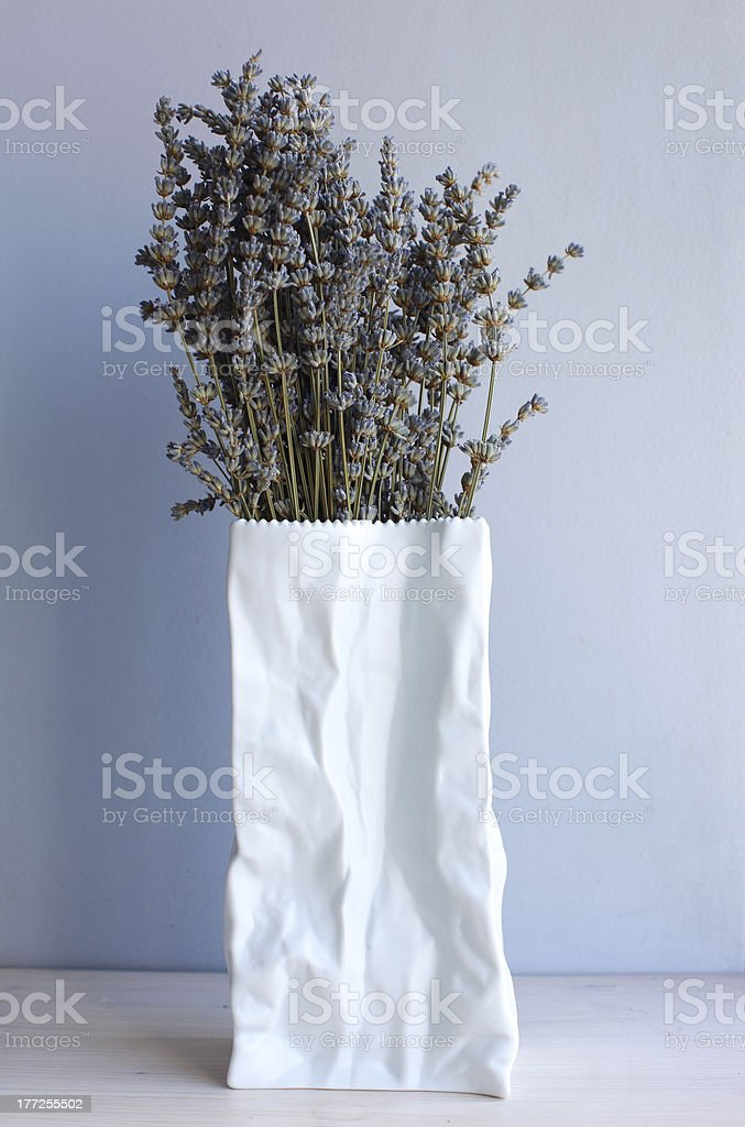 Lavender flower branches in paper bag vase royalty-free stock photo