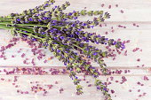 Lavender flower branches on  wooden table