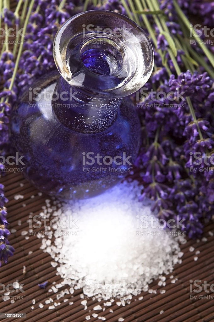 Lavender flowers, bath salt and essential oil royalty-free stock photo