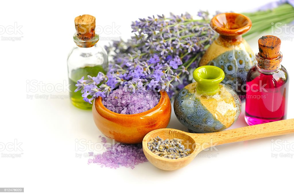 Lavender fresh and dry flowers and lavender oil stock photo
