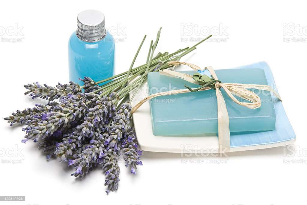 Lavender gel and soap for bathing. stock photo