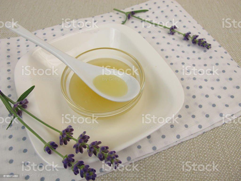 Lavender honey stock photo