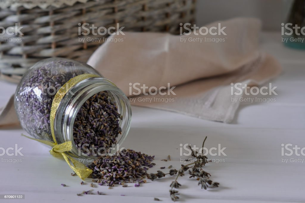 Lavender in a jar of glass stock photo