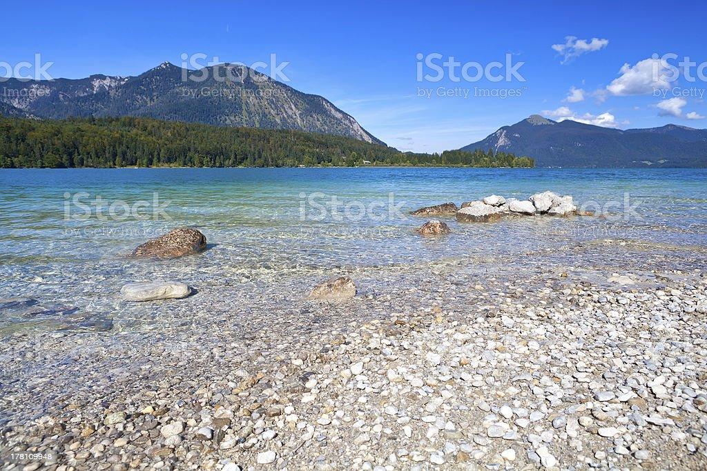lavender lake Walchensee in Bavarian Alps stock photo