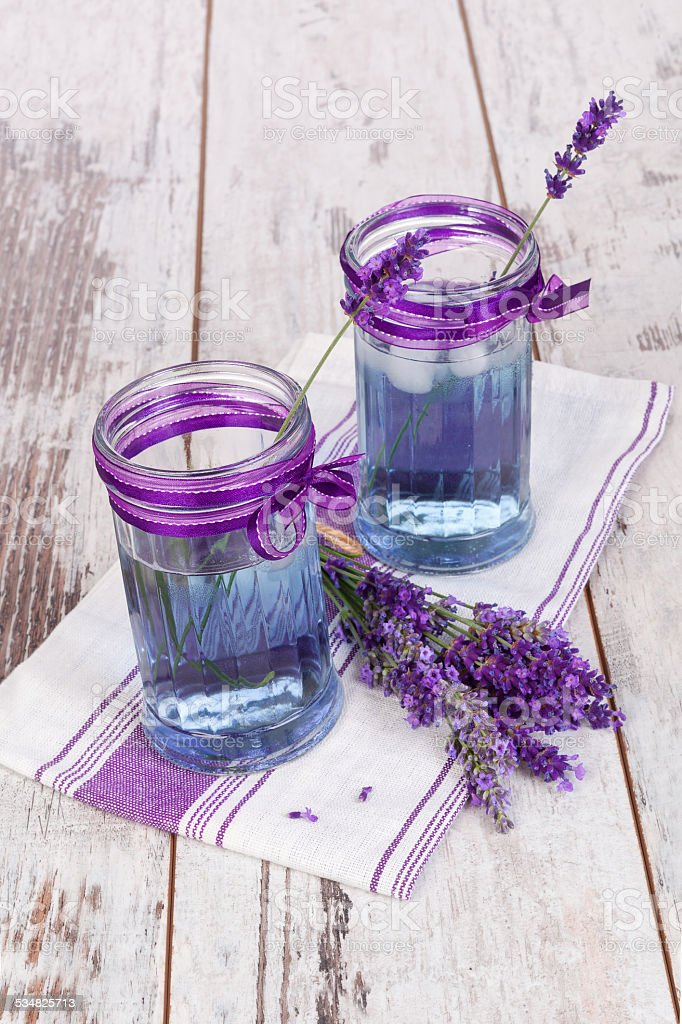 Lavender lemonade in purple and white. stock photo