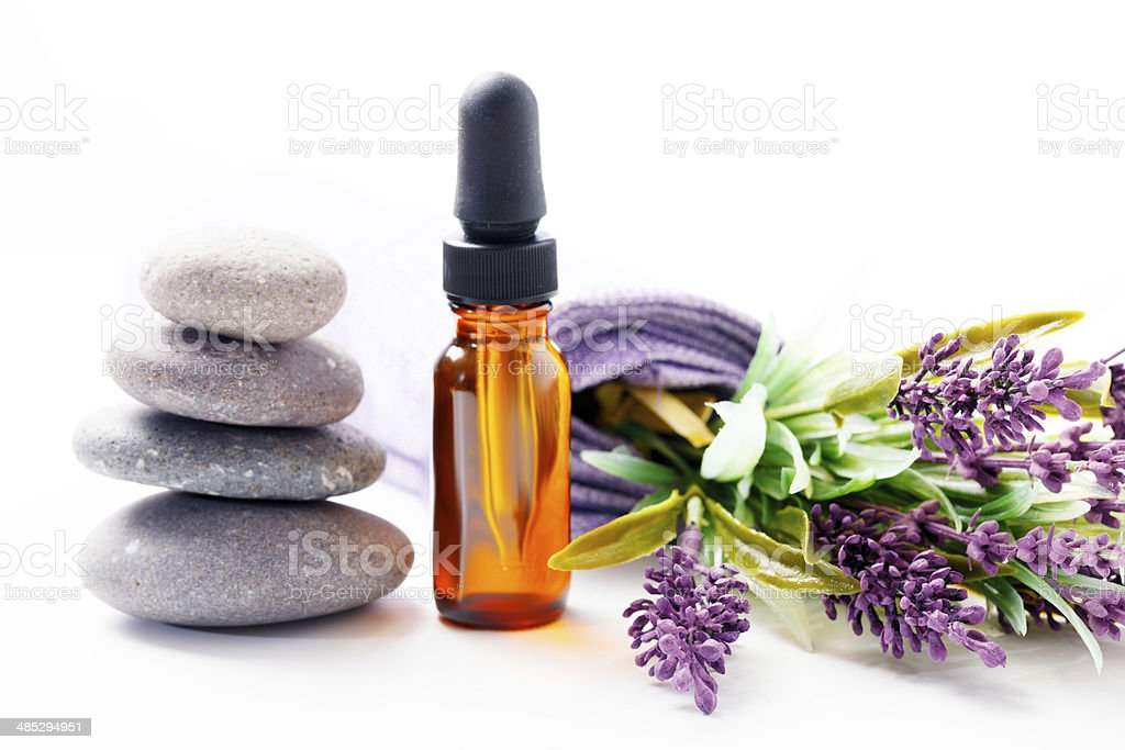 lavender oil and flowers stock photo