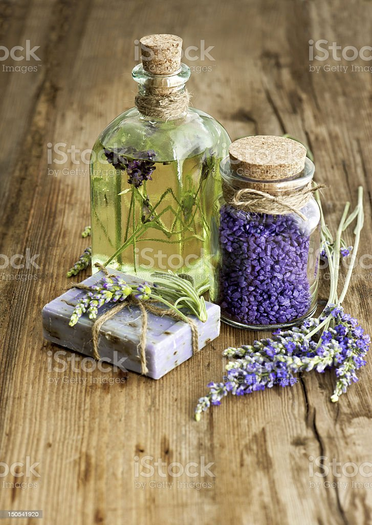 lavender oil, herbal soap and bath salt stock photo