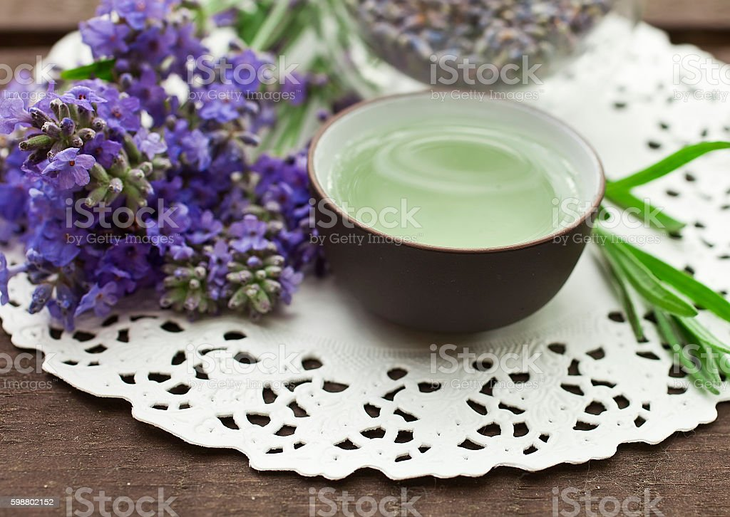 Lavender on a wooden background stock photo