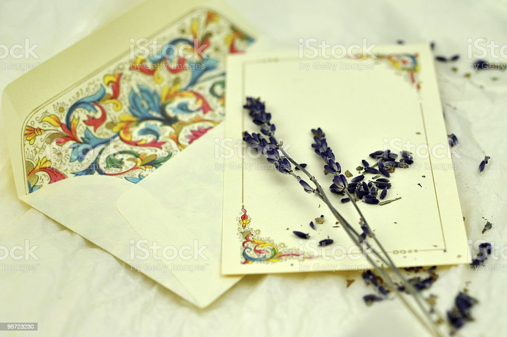 Lavender on Love Letter royalty-free stock photo