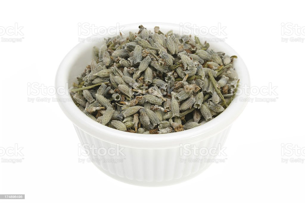 Lavender seeds in a small white bowl. royalty-free stock photo
