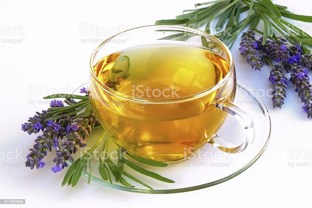 lavender tea stock photo