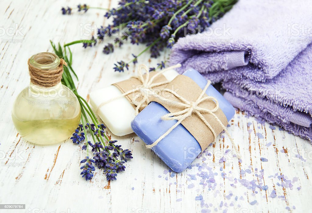 Lavender with soap stock photo