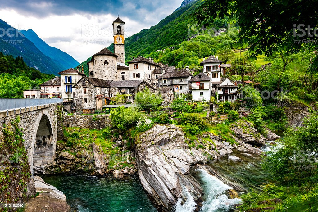Lavertezzo in valley verzasca in Switzerland stock photo