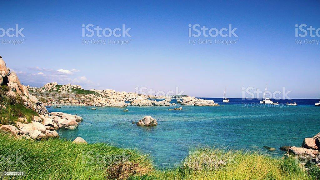 Lavezzi islands rocky coastline stock photo