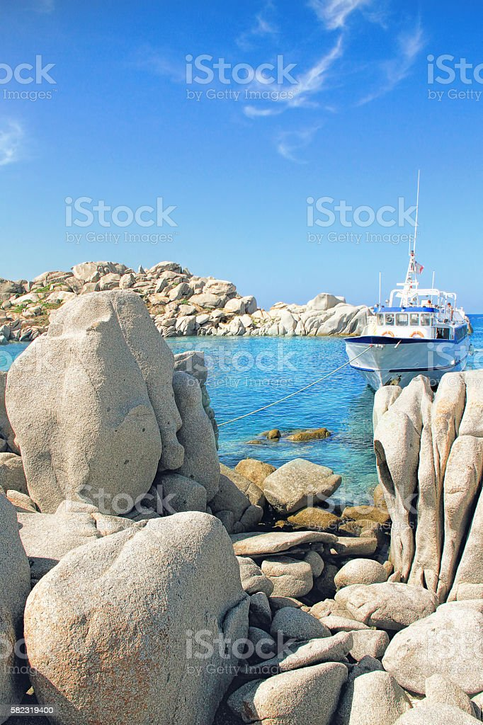 Lavezzi islands rocky coastline stock photo