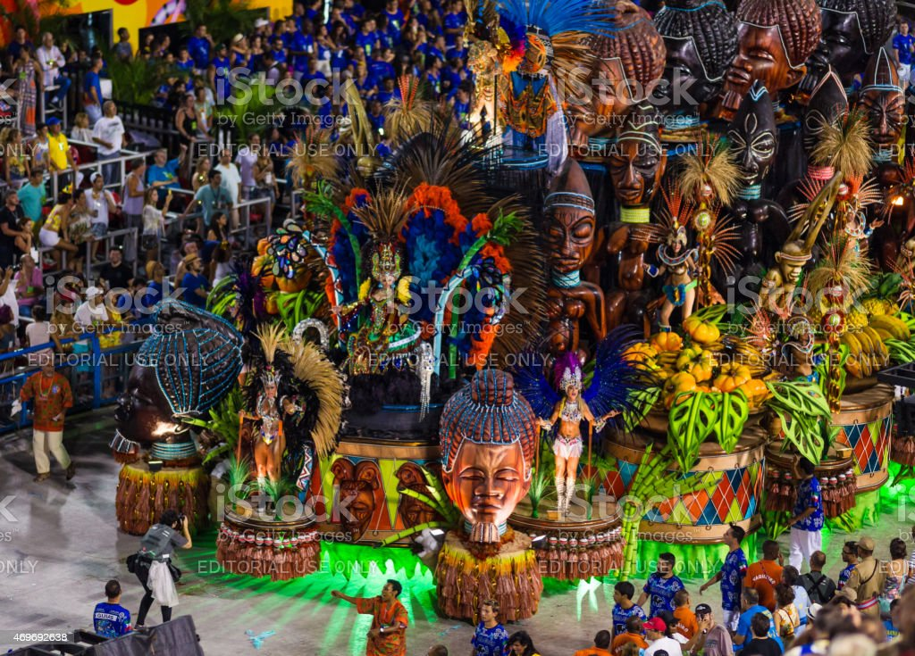 Lavishly Decorated Parade Float in Sambadromo, Rio de Janeiro, Brazil stock photo