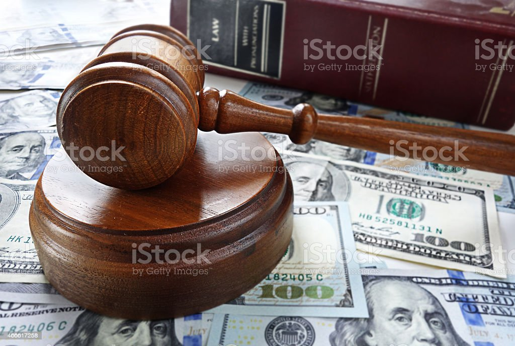 law book and gavel stock photo