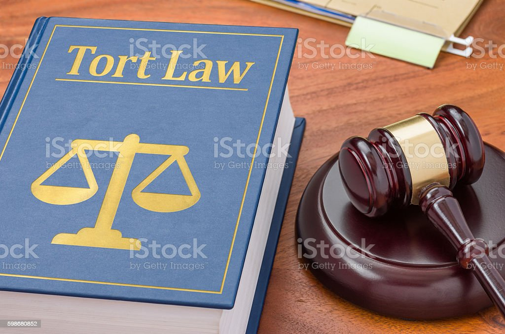 Law book with a gavel - Tort law stock photo