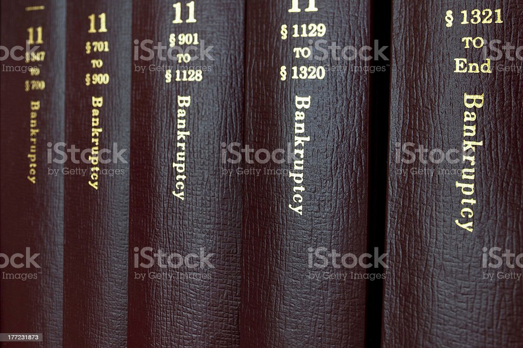 Law Books containing Bankruptcy laws and Statutes stock photo