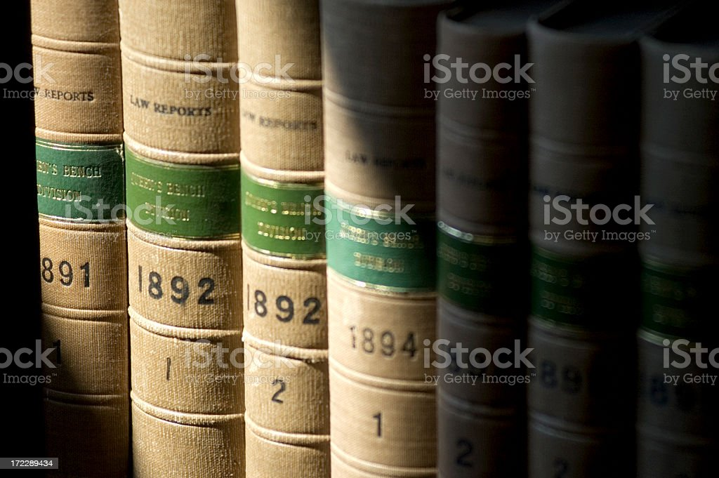 Law books from the 90s years in a shelf stock photo